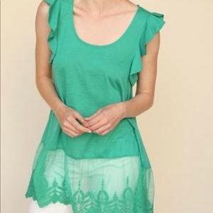 Sleeveless Umgee Top with Lace Hem